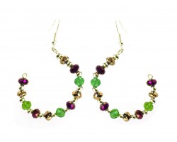 Mardi Gras Crystal Half Loop Gold Hook Earrings