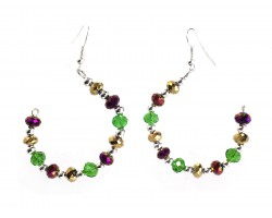 Mardi Gras Crystal Half Loop Silver Hook Earrings