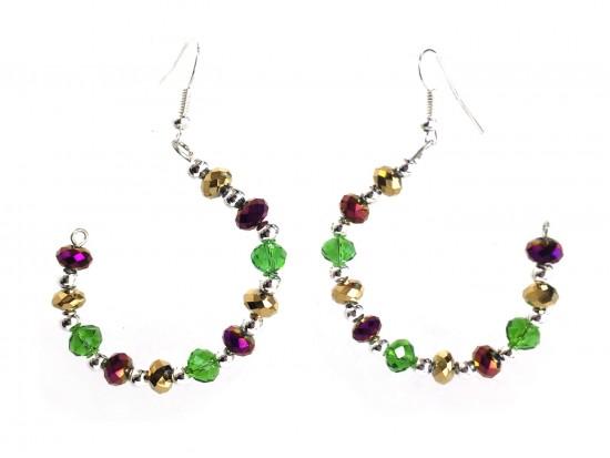Mardi Gras Crystal Half Loop Silver Hook Earrings