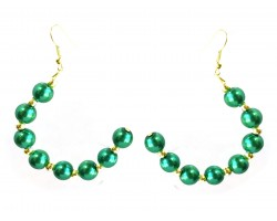 Green Pearl Half Loop Gold Hook Earrings