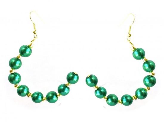 Green Pearl Half Loop Gold Hook Earrings