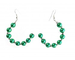 Green Pearl Half Loop Silver Hook Earrings