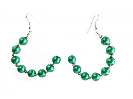 Green Pearl Half Loop Silver Hook Earrings