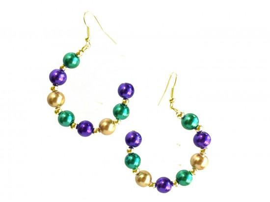 Mardi Gras Pearl Half Loop Gold Hook Earrings