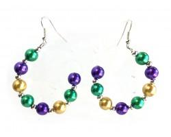 Mardi Gras Pearl Half Loop Silver Hook Earrings
