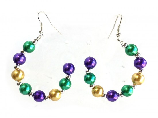 Mardi Gras Pearl Half Loop Silver Hook Earrings