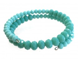 Aqua Crystal Bead Memory Wire Coil Bracelet