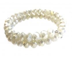 Beige Crystal Bead Memory Wire Coil Bracelet