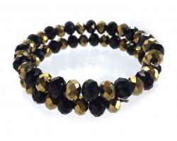 Black Gold Crystal Alternate Memory Wire Coil Bracelet
