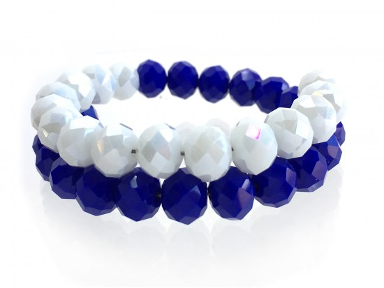Blue White Crystal Bead Memory Wire Coil Bracelet