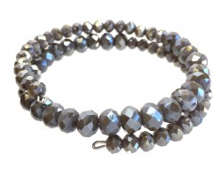 Gray Crystal Bead Memory Wire Coil Bracelet