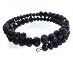 Black Jet Crystal Bead Memory Wire Coil Bracelet