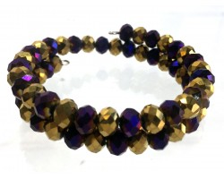 Purple Gold Crystal Alternate Memory Wire Coil Bracelet