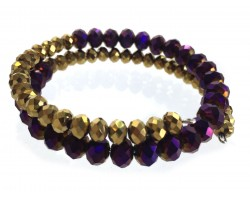 Purple Gold Crystal Bead Memory Wire Coil Bracelet