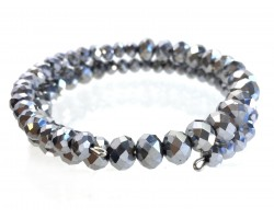 Silver Crystal Bead Memory Wire Coil Bracelet