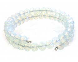 White Opal Crystal Bead Memory Wire Coil Bracelet