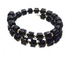 Black Gold Cylinder Bead  Memory Wire Bracelet