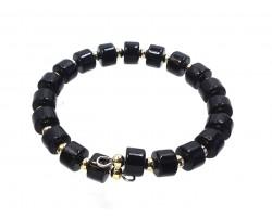 Black Gold Cylinder Bead  Memory Cuff