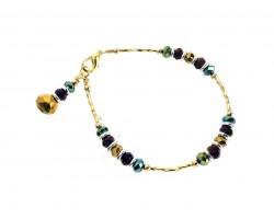 Mardi Gras Crystal Gold Twist Tube Bead Bracelet