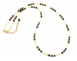 Black Gold Silver Crystal Twist Tube Bead Necklace