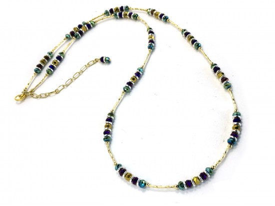 Mardi Gras Crystal Gold Twist Tube Bead Necklace