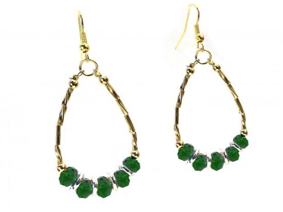 Green Crystal Gold Twist Tube Teardrop Earring