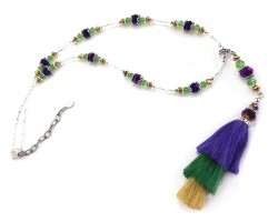 Mardi Gras Tassel Crystal Silver Necklace