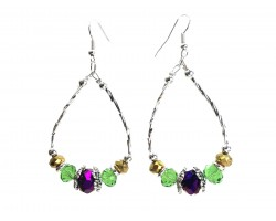 Mardi Gras Crystal Silver Teardrop Hook Earrings