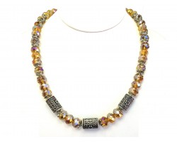 Topaz Crystal Filigree Barrel Bead Necklace