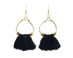 Black Gold Twist Tube Bead Tassel Hook Earrings