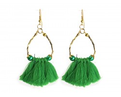 Green Gold Twist Tube Bead Tassel Hook Earrings