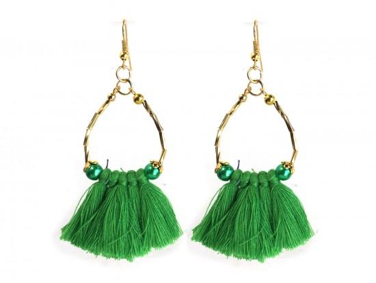 Green Gold Twist Tube Bead Tassel Hook Earrings