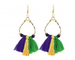 Mardi Gras Twist Tube Bead Tassel Hook Earrings