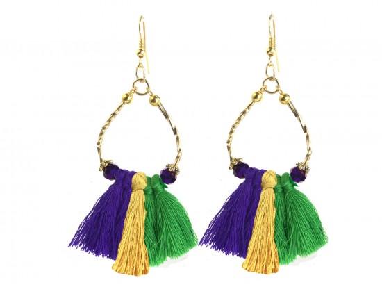 Mardi Gras Twist Tube Bead Tassel Hook Earrings