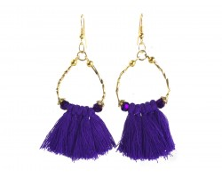 Purple Gold Twist Tube Bead Tassel Hook Earrings