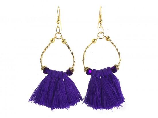 Purple Gold Twist Tube Bead Tassel Hook Earrings