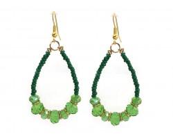 Green Crystal Tiny Bead Teardrop Earring