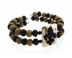 Black Gold Matte Fleur De Lis Memory Wire Bracelet