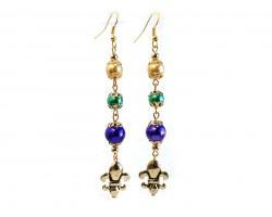 Mardi Gras Pearl Fleur De Lis Gold Hook Earrings