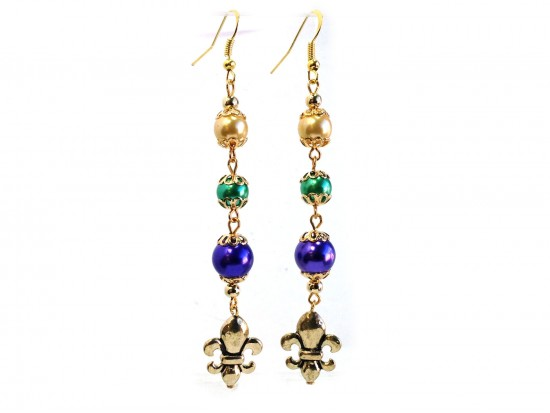 Mardi Gras Pearl Fleur De Lis Gold Hook Earrings