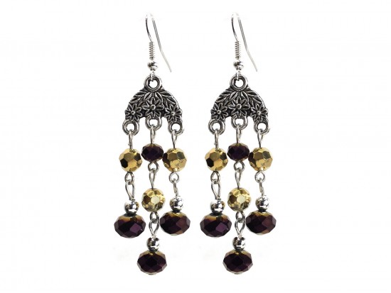 Black Gold Crystal Chandelier Silver Hook Earrings