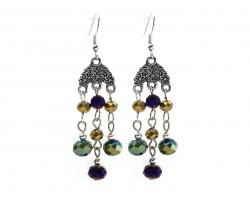 Mardi Gras Crystal Chandelier Silver Hook Earrings