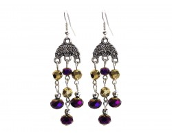 Purple Gold Crystal Chandelier Silver Hook Earrings