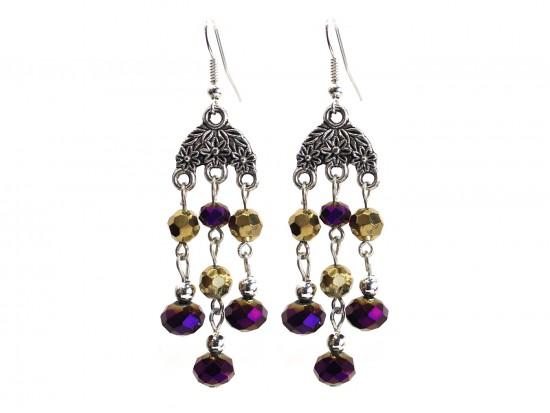 Purple Gold Crystal Chandelier Silver Hook Earrings