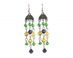 Mardi Gras Crystal Chandelier Hook Earrings