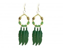 Green Feather Crystal Loop Hook Earrings