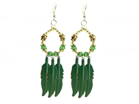 Green Feather Crystal Loop Hook Earrings