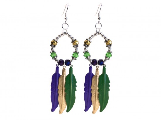 Mardi Gras Feather Crystal Loop Hook Earrings