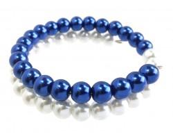 Blue White Pearl Memory Wire Coil Bracelet
