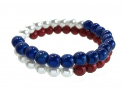 Red White Blue Pearl Memory Wire Coil Bracelet